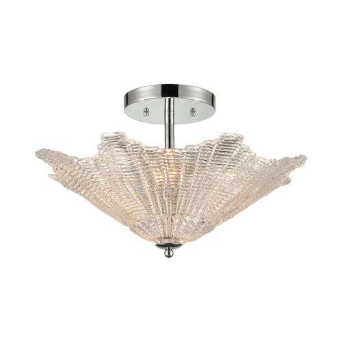 ELK Lighting 60175/4 Radiance 4-Light Semi Flush in Polished Chrome with Clear Textured Glass