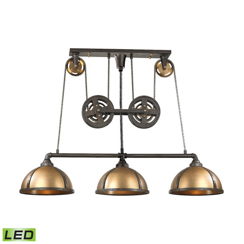 ELK Lighting 65152/3-LED Torque 3-Light Island Light in Vintage Brass and Rust with Metal Shade - Includes LED Bulbs
