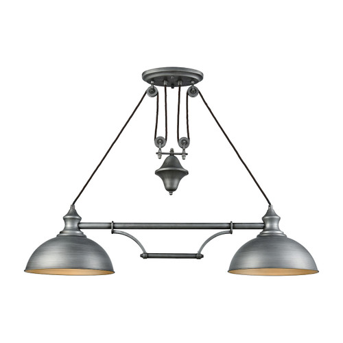 ELK Lighting 65162-2 Farmhouse 2-Light Adjustable Island Light in Weathered Zinc with Matching Shade
