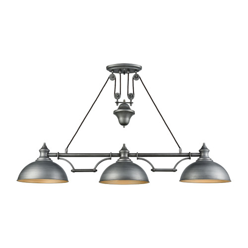 ELK Lighting 65163-3 Farmhouse 3-Light Adjustable Island Light in Weathered Zinc with Matching Shade