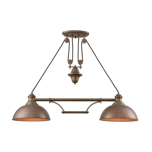 ELK Lighting 65272-2 Farmhouse 2-Light Adjustable Island Light in Tarnished Brass with Matching Shade