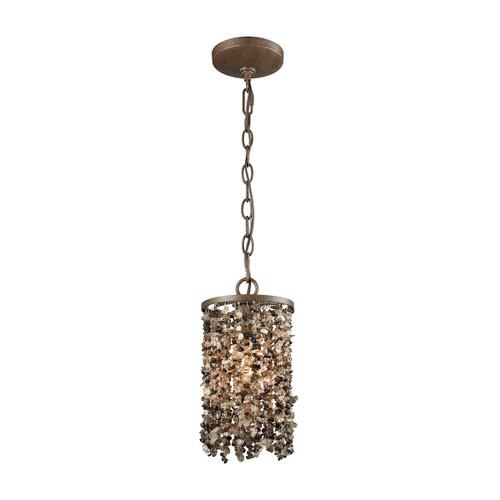 ELK Lighting 65315/1 Agate Stones 1-Light Mini Pendant in Weathered Bronze with Dark Agate Stones