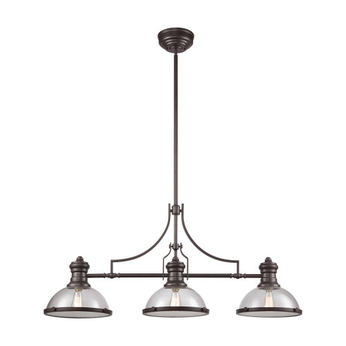 ELK Lighting 66535-3 Chadwick 3-Light Island Light in Oil Rubbed Bronze with Seedy Glass