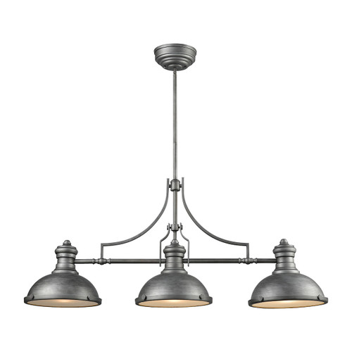 ELK Lighting 66585-3 Chadwick 3-Light Island Light in Weathered Zinc with Metal and Frosted Glass Diffuser