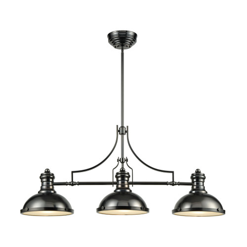 ELK Lighting 66605-3 Chadwick 3-Light Island Light in Black Nickel with Metal Shade and Frosted Glass Diffuser