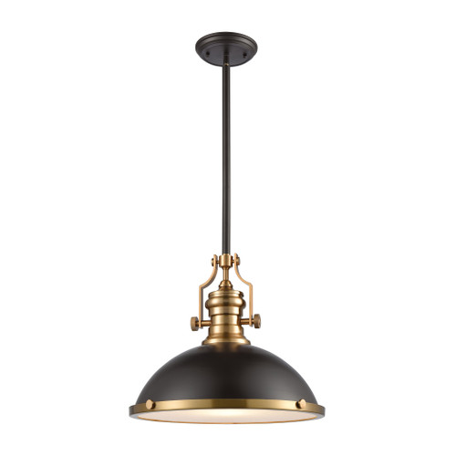 ELK Lighting 66618-1 Chadwick 1-Light Pendant in Oil Rubbed Bronze with Metal and Frosted Glass