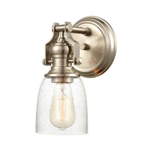 ELK Lighting 66624-1 Chadwick 1-Light Vanity Light in Satin Nickel with Seedy Glass