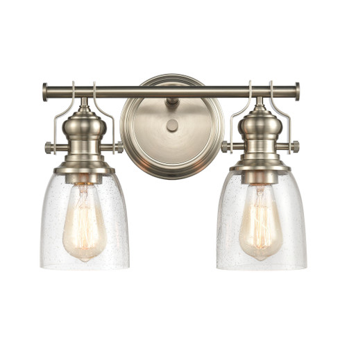 ELK Lighting 66625-2 Chadwick 2-Light Vanity Light in Satin Nickel with Seedy Glass