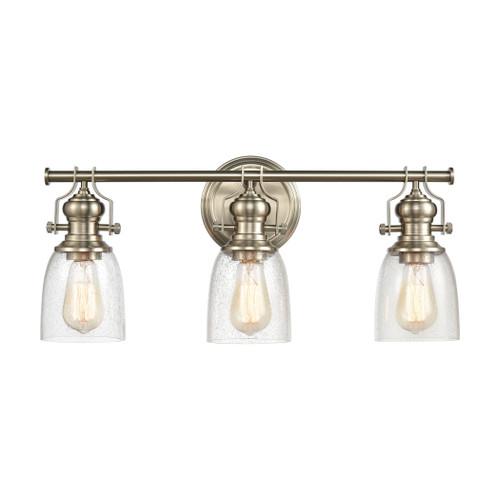 ELK Lighting 66626-3 Chadwick 3-Light Vanity Light in Satin Nickel with Seedy Glass