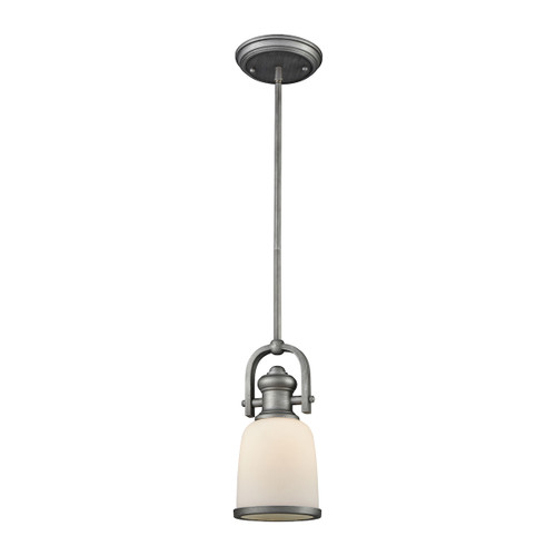ELK Lighting 66681-1 Brooksdale 1-Light Mini Pendant in Weathered Zinc with White Glass