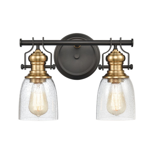 ELK Lighting 66685-2 Chadwick 2-Light Vanity Light in Oil Rubbed Bronze and Satin Brass with Seedy Glass