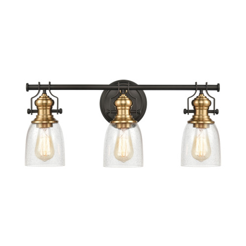 ELK Lighting 66686-3 Chadwick 3-Light Vanity Light in Oil Rubbed Bronze and Satin Brass with Seedy Glass