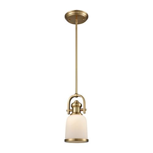 ELK Lighting 66691-1 Brooksdale 1-Light Mini Pendant in Satin Brass with White Glass