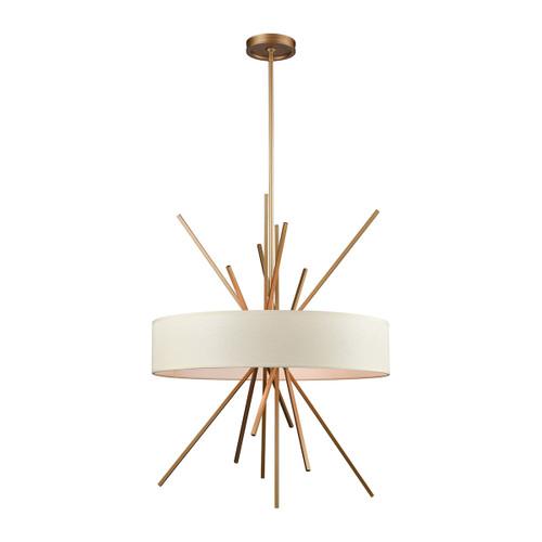 ELK Lighting 66973/5 Xenia 5-Light Chandelier in Matte Gold with Textured Beige Fabric Shade