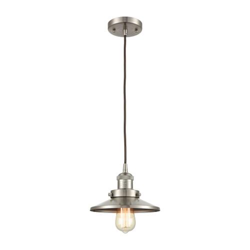 ELK Lighting 67174/1 English Pub 1-Light Mini Pendant in Satin Nickel with Satin Nickel Metal Shade