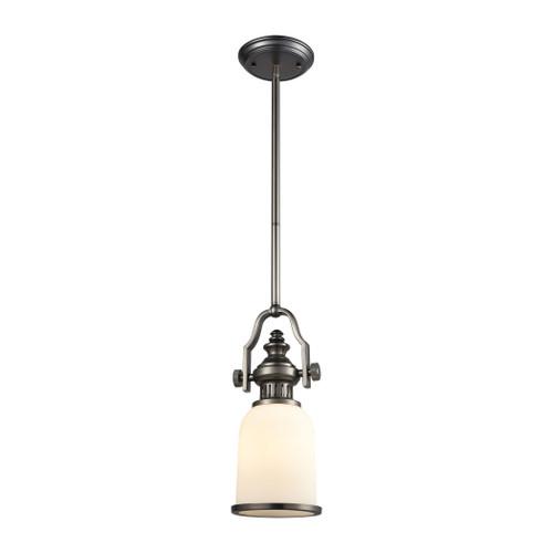 ELK Lighting 67201-1 Chadwick 1-Light Mini Pendant in Black Nickel with White Glass
