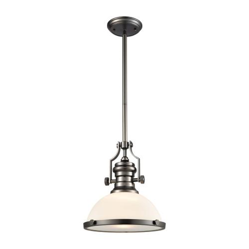 ELK Lighting 67204-1 Chadwick 1-Light Pendant in Black Nickel with White Glass