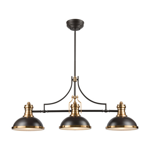 ELK Lighting 67217-3 Chadwick 3-Light Island Light in Oil Rubbed Bronze with Metal and Frosted Glass