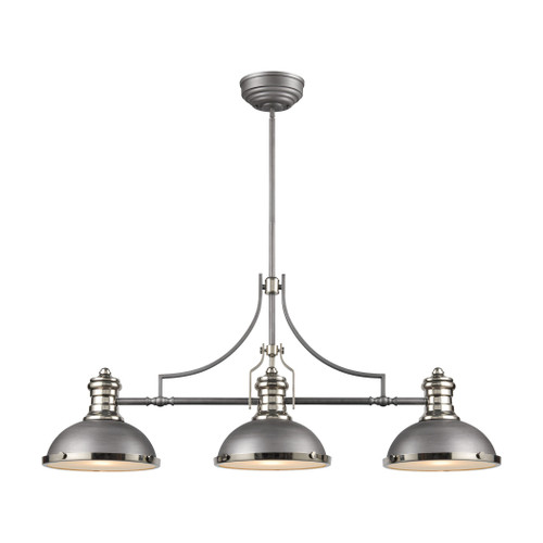 ELK Lighting 67237-3 Chadwick 3-Light Island Light in Weathered Zinc with Metal and Frosted Glass