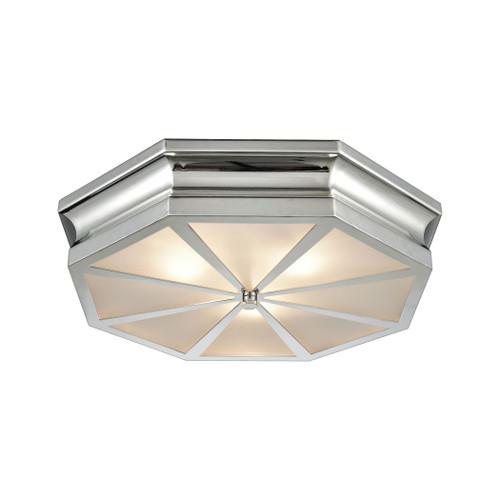 ELK Lighting 68101/3 Windsor 3-Light Flush Mount in Polished Nickel with Frosted Glass Diffuser