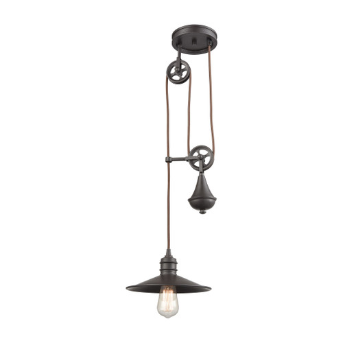 ELK Lighting 69083/1 Spindle Wheel 1-Light Adjustable Pendant in Oil Rubbed Bronze with Matching Shade