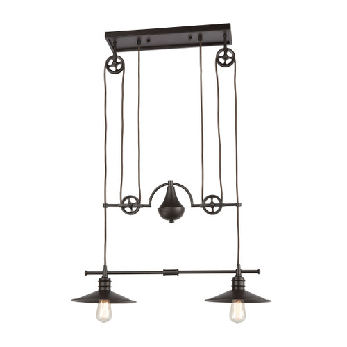 ELK Lighting 69088/2 Spindle Wheel 2-Light Island Light in Oil Rubbed Bronze