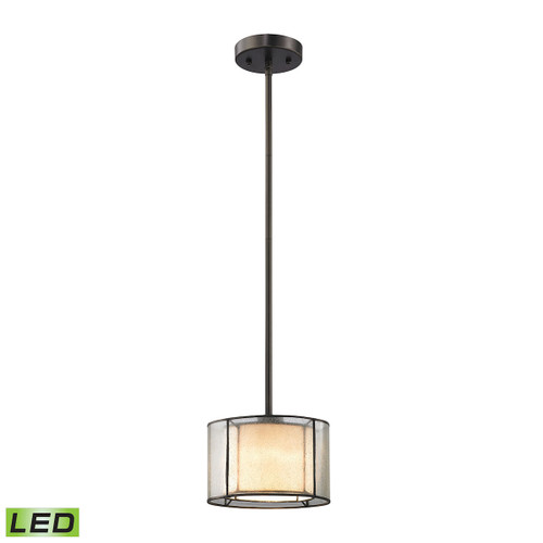 ELK Lighting 70224/1-LED Mirage 1-Light Mini Pendant in Tiffany Bronze with Seedy and Amber Art Glass - Includes LED Bulb