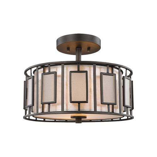 ELK Lighting 70251/2 Minden 2-Light Semi Flush in Tiffany Bronze with Frosted Seedy Glass and Tan Mica Shade