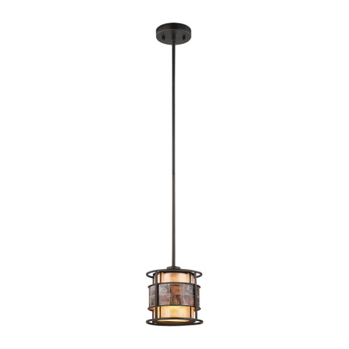 ELK Lighting 70262/1-LA Tremont 1-Light Mini Pendant in Tiffany Bronze with Brown and Tan Mica Shade - Includes Adapter Kit
