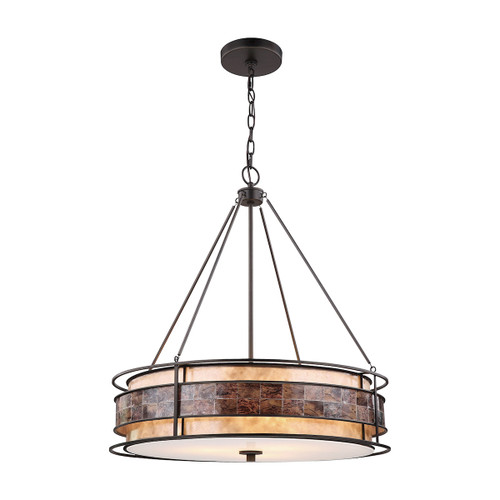 ELK Lighting 70264/3 Tremont 3-Light Chandelier in Tiffany Bronze with Brown Mosaic and Tan Mica Shade