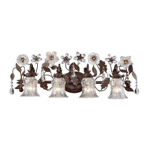 ELK Lighting 7048/4 Cristallo Fiore 4-Light Vanity Lamp in Deep Rust with Florets and Clear Crystal Shades