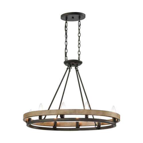 ELK Lighting 75055/8 Ramsey 8-Light Island Light in Matte Black and Aspen