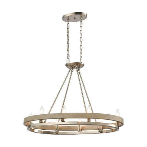 ELK Lighting 75065/8 Ramsey 8-Light Island Light in Satin Nickel and Beech Wood