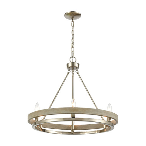 ELK Lighting 75066/6 Ramsey 8-Light Chandelier in Satin Nickel and Beech Wood
