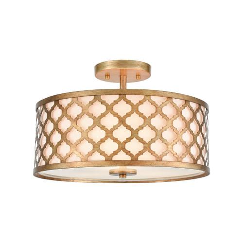 ELK Lighting 75135/3 Arabesque 3-Light Semi Flush in Bronze Gold with White Fabric Shade