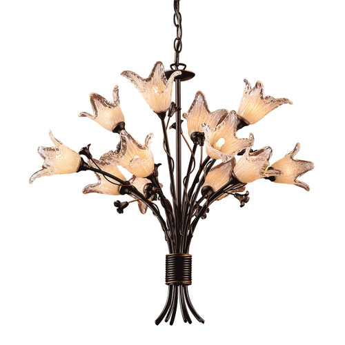 ELK Lighting 7959/8+4 Fioritura 12-Light Chandelier in Aged Bronze with Floral-shaped Glass