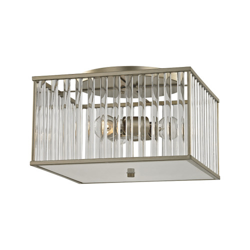 ELK Lighting 81094/3 Ridley 3-Light Semi Flush in Aged Silver with Oval Glass Rods