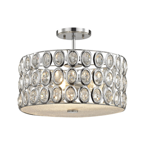 ELK Lighting 81154/3 Tessa 3-Light Semi Flush in Polished Chrome with Clear Crystal