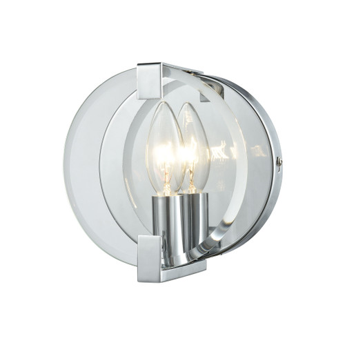 ELK Lighting 81340/1 Clasped Glass 1-Light Vanity Sconce in Polished Chrome with Clear Beveled Glass