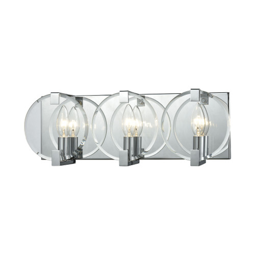 ELK Lighting 81341/3 Clasped Glass 3-Light Vanity Sconce in Polished Chrome with Clear Beveled Glass