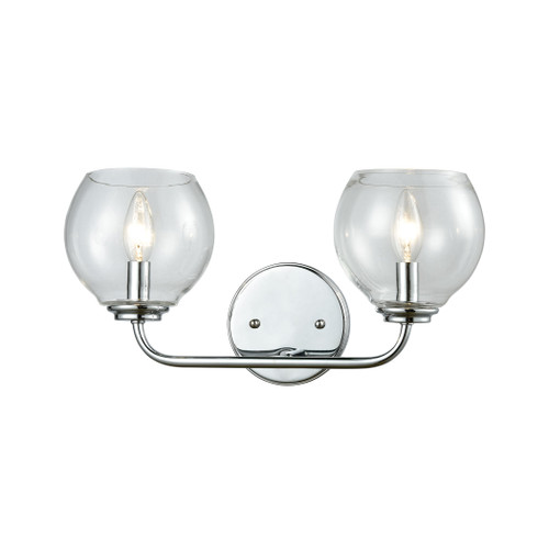 ELK Lighting 81361/2 Emory 2-Light Vanity Lamp in Polished Chrome with Clear Blown Glass