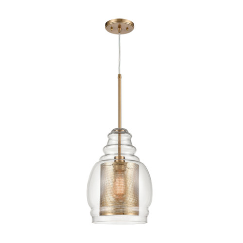 ELK Lighting 81424/1 Herndon 1-Light Pendant in Antique Gold with Clear Glass and Antique Gold Perforated Metal Cylinder