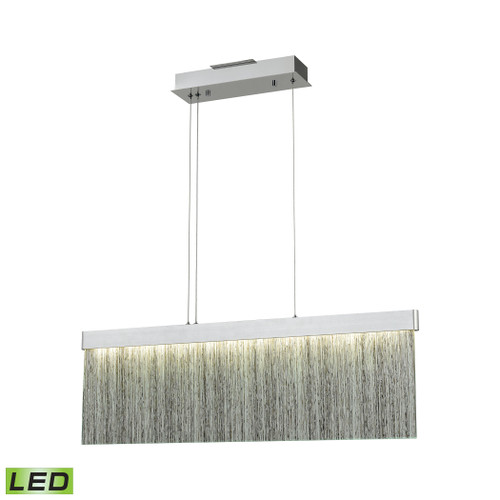 ELK Lighting 85112/LED Meadowland 1-Light Island Light in Satin Aluminum and Chrome with Textured Glass - Integrated LED
