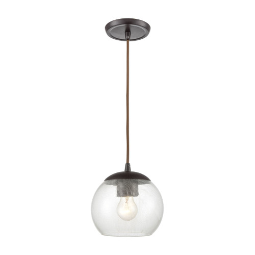 ELK Lighting 85210/1 Kendal 1-Light Mini Pendant in Oil Rubbed Bronze with Patterned Clear Glass