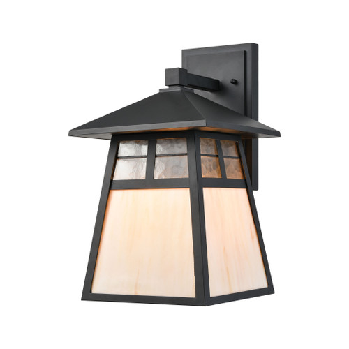ELK Lighting 87051/1 Cottage 1-Light Sconce in Matte Black with Antique White Art Glass and Clear Textured Glass