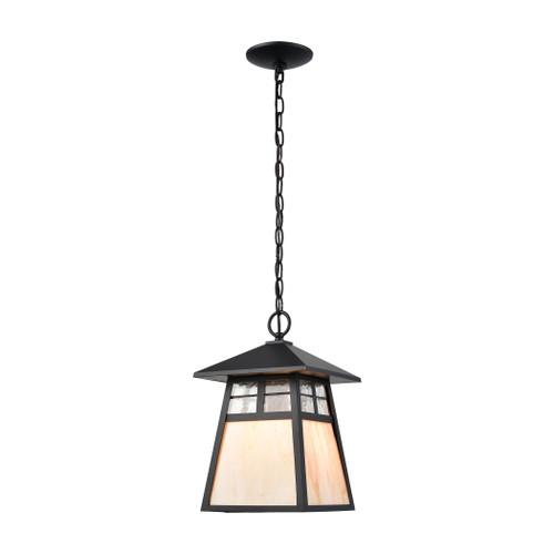 ELK Lighting 87053/1 Cottage 1-Light Hanging in Matte Black with Antique White Art Glass and Clear Textured Glass