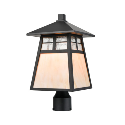 ELK Lighting 87054/1 Cottage 1-Light Post Mount in Matte Black with Antique White Art Glass and Clear Textured Glass