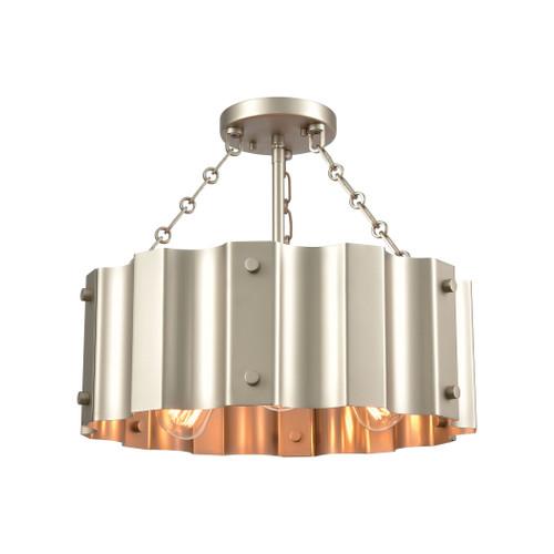 ELK Lighting 89056/3 Clausten 3-Light Semi Flush in Matte Nickel with Satin Nickel Metal Shade