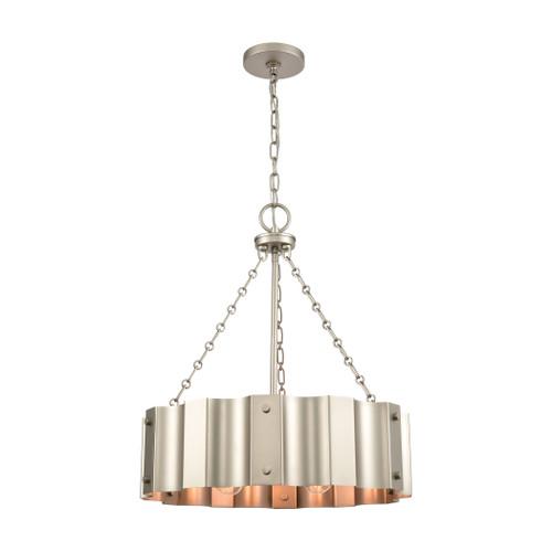 ELK Lighting 89057/4 Clausten 4-Light Chandelier in Matte Nickel with Satin Nickel Metal Shade