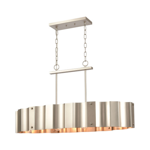 ELK Lighting 89058/4 Clausten 4-Light Island Light in Matte Nickel with Satin Nickel Metal Shade